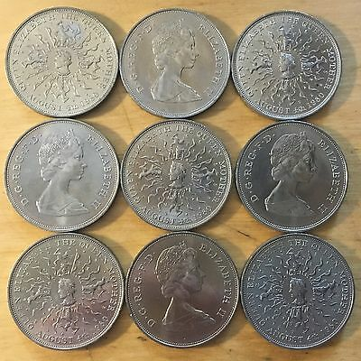 Great Britain 1980 25 New Pence; KM-921; UNC; Lot of 9 (#g52)