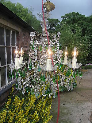 Very Rare 6 Branch Chandelier With Lots Green Drops French Vintage Stunning 3901