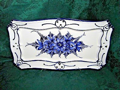"RCCL  Blue & White Hand Painted Ceramic Platter Made In Portugal 15 1/2"" long"
