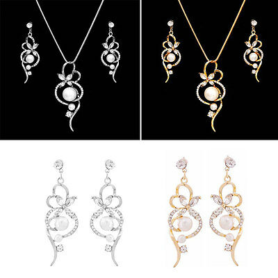 Wedding Party Bridal Pearl Crystal Silver Plated Necklace Earring Jewelry Set