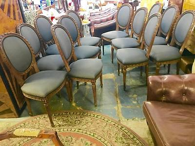 Rare Set 12 French Provincial Louis Xv Style Carved Balloon Back Chairs ..as New