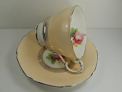 DOUBLE WARRANT Pink Rose. Vintage Paragon Tea Cup and Saucer. Beige.