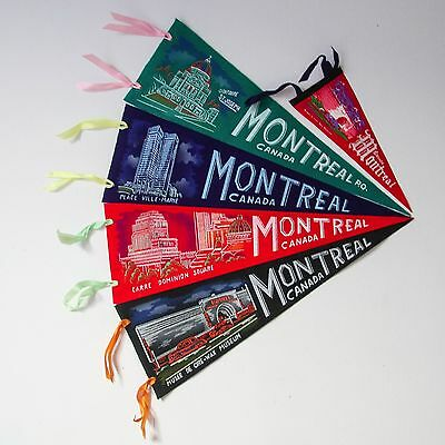 Vintage Lot of 5 Montreal Quebec Pennants Felt Flags New Deadstock Canada