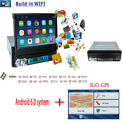 GPS Nav Single 1Din Android6 Auto Car Stereo Radio DVD Player central multimidia