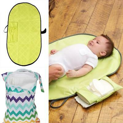 2pcs/set Nappy Pouch Bag+Baby Changing Pad Diaper Clutch w/Travel Cover Mat