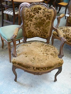 Antique French Carved Walnut Open Arm Chair , & Another Chair  Available