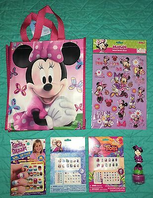 Mixed Lot:Minnie Mouse Stickers, Nail Polish, Earrings, Trolls, Frozen, 6 Pieces