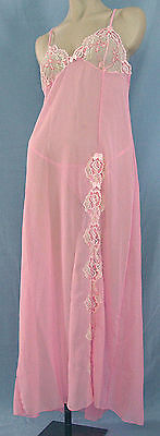 Pink Chiffon and Lace Long Gown - Size S/M