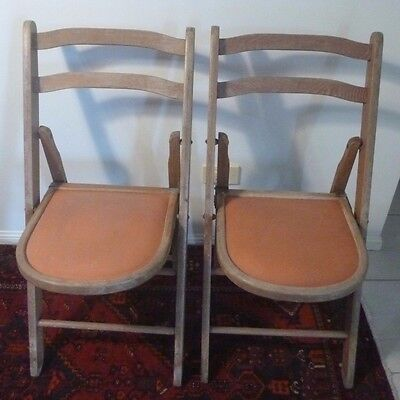 2 Wooden Retro Fold-up Chairs