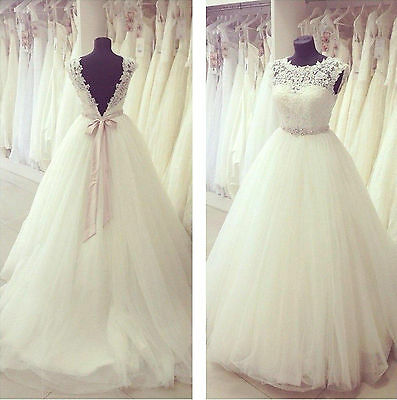 New White or Ivory Lace Wedding Dress Bridal Gown Custom Size 4 6 8 10 12 14 16+