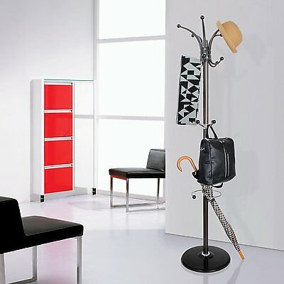 Coat Hanger Stand Rack Clothes Metal Hat Jacket Bag Umbrella Hook Scarf Holder