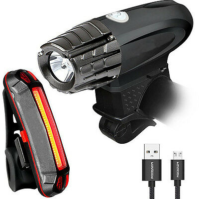 AU Waterproof Two USB Rechargeable Bright Front Light & LED Bike Tail Light Set
