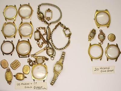 Scrap GOLD Plated/Rolled WATCH CASEs & BANDS - 10 & 20Micron, 9/10K - 208 grams