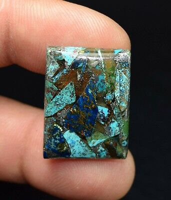 Beautiful ! 20.30 Cts. Natural  Silver  Azurite  Cushion Cab For Silver Pendant