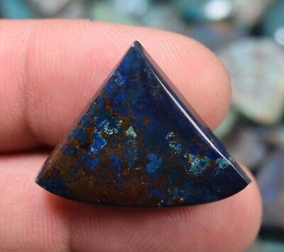 Bright  Chrysocolla ! 24.50 Cts. 100 % Natural Triangle Cab For Silver Pendant
