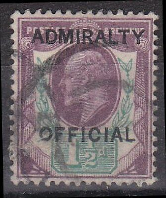 GB KEVII - SG O103 - Admiralty OFFICIAL 1 1/2d - average used - SG cat £150