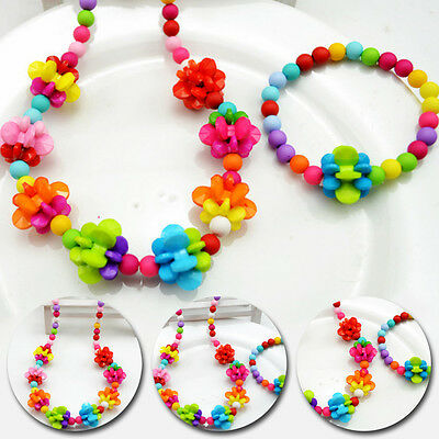 Lantern Jewelry Girls 2017 Stylish Baby Color Ball Fashion Necklace&Bracelet Set