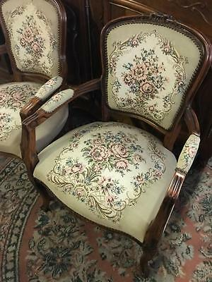 Mahogany French Louis Fauteuil Style  Carved Armchair ..tapestry Of Flowers