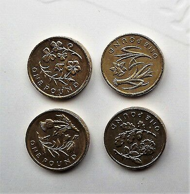 COIN HUNT Full Set Of 4 1 One Pound Coins With Floral Emblem very rare