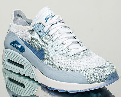 NIKE AIR MAX 90 Ultra 2.0 Flyknit Womens White Blue Casual