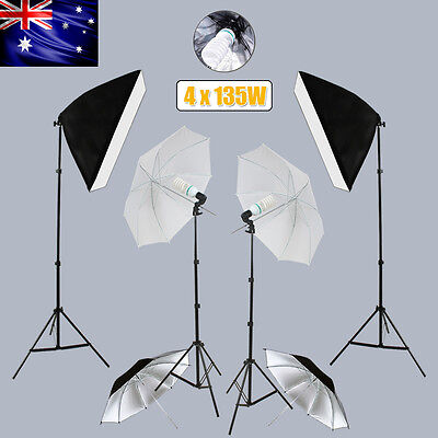 4x135W Photography Continuous Softbox Umbrella Lighting Stand Soft Box Stand Kit