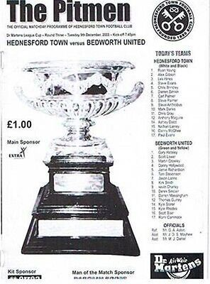 Hednesford Town Bedworth United 09/12/03 old non league football programme