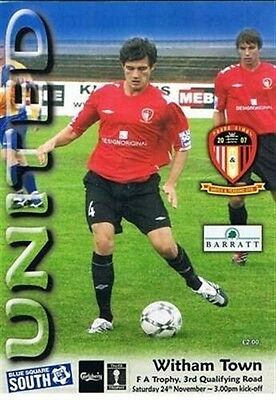 Hayes & Yeading United v Witham Town FC 24/11/07 Non League football programme