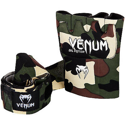 Venum Kontact Boxing Gel Hand Wraps Padded MMA Wrap Gloves Sparring Black Adult
