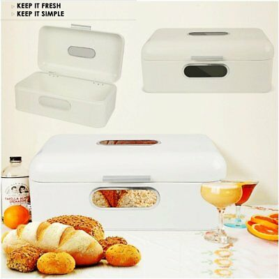 Curved Bread Bin Steel Kitchen Top Storage Roll Loaf Box By Home Food Kitchen UK