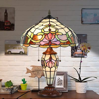 "Tiffany Style Stained Glass Victorian Vintage Home Table Lamp 14"" floral shade"