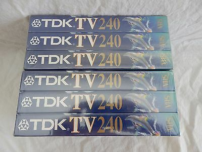TDK TV 6 x 240 (4 Hrs) Blank Video Cassette Tapes New Sealed
