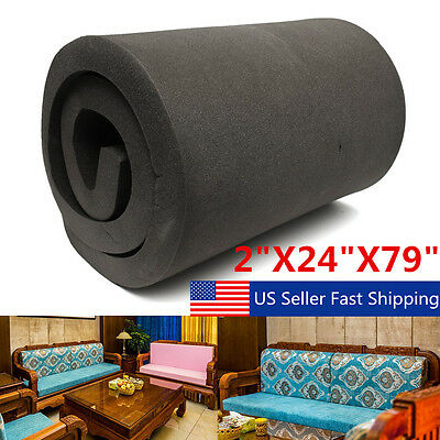 Black High Density Seat Firm Upholstery Foam Rubber Replacement 78.7''x23.6''x2""