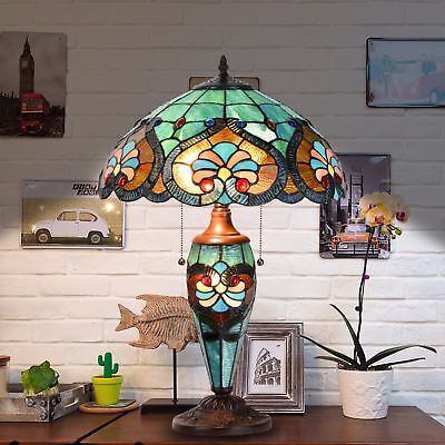 Tiffany Style Table Lamp Victorian Desk Lamp Stained Blue Glass Shade Home Lamp