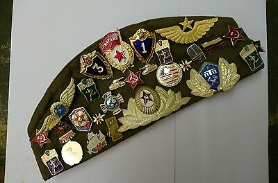Russian Soviet USSR Army Military Pilotka Hat Garrison Cap With 33 Badges