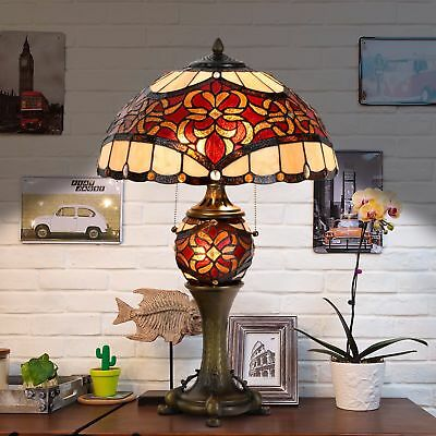 Tiffany Style Victorian Table Desk Lamp Stained Glass Double Light Lit Base