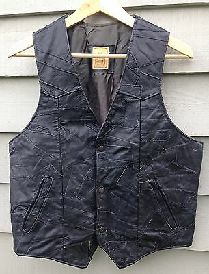 Vintage Leather Patchwork Waistcoat. Mens. Black. Size 40. Mexican.