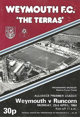 Football Programme - Weymouth v Runcorn - Alliance Premier League - 23/4/1984