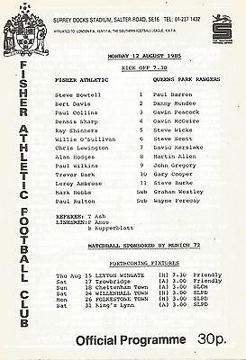 Football Programme - Fisher Athletic v QPR - Pre-Season Friendly - 12/8/1985