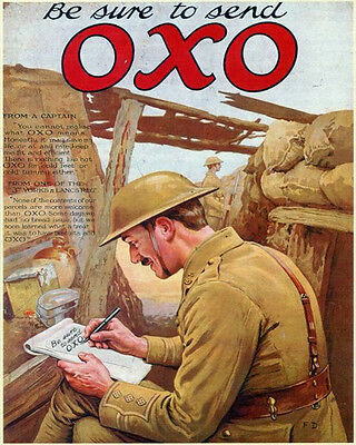 Be Sure to Send OXO World War VINTAGE ENAMEL METAL TIN SIGN WALL PLAQUE