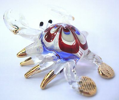 CRAB Color Hand Blown Glass Figurine Art With Gold Trim
