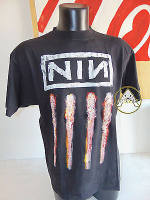 Vintage 90 NIN L XL USATO Maglietta T-Shirt Top Nero 80 Nine Inch Nails Skate