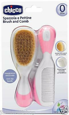 Chicco Brush & Comb ( PINK) for 0+ Babies Soft brush with Safe Hygiene