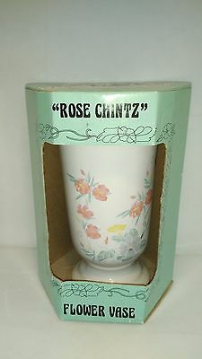 "Boxed Rington's Flower vase ""Rose Chintz"",Wade Potteries Retro Vintage Floral"