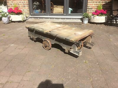 Lovely Antique Vintage Industrial Mill Trolley Coffee Table