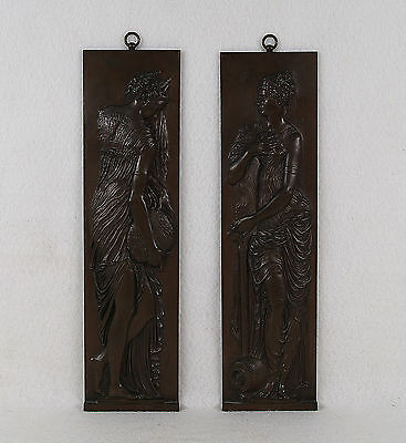Antique F. Barbedienne Pair of Bronze Plaques Greek Maidens