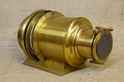 "Vintage brass camera lens, large, 9.5"", photographic , display"
