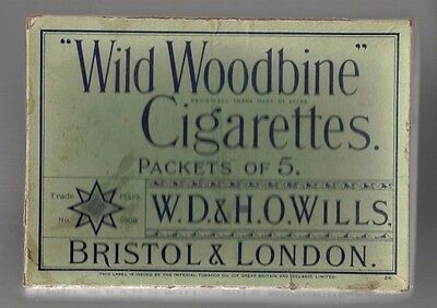 Cigarette box. Wild Woodbine. 'Packets of 5'. Scarce vintage item.