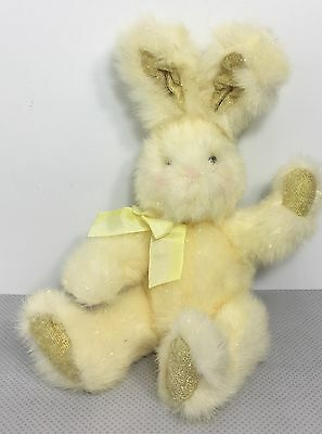 """Russ 11"""" Glitter Bunny Rabbit Cotton Candy Plush Easter Spring Yellow White"""