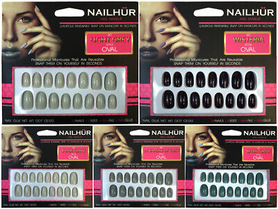 Nailhur Oval - Creme #2 Reusable Fake Press Glue On Nails Tips Nude Lilac Red