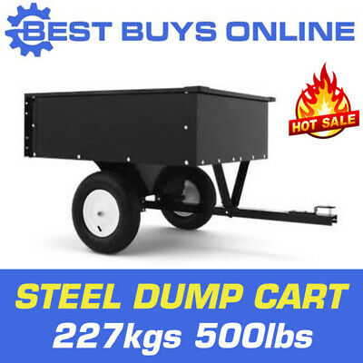 STEEL DUMP CART GARDEN Tipping TRAILER 500lbs 227kg TOW QUAD ATV RIDE ON MOWER